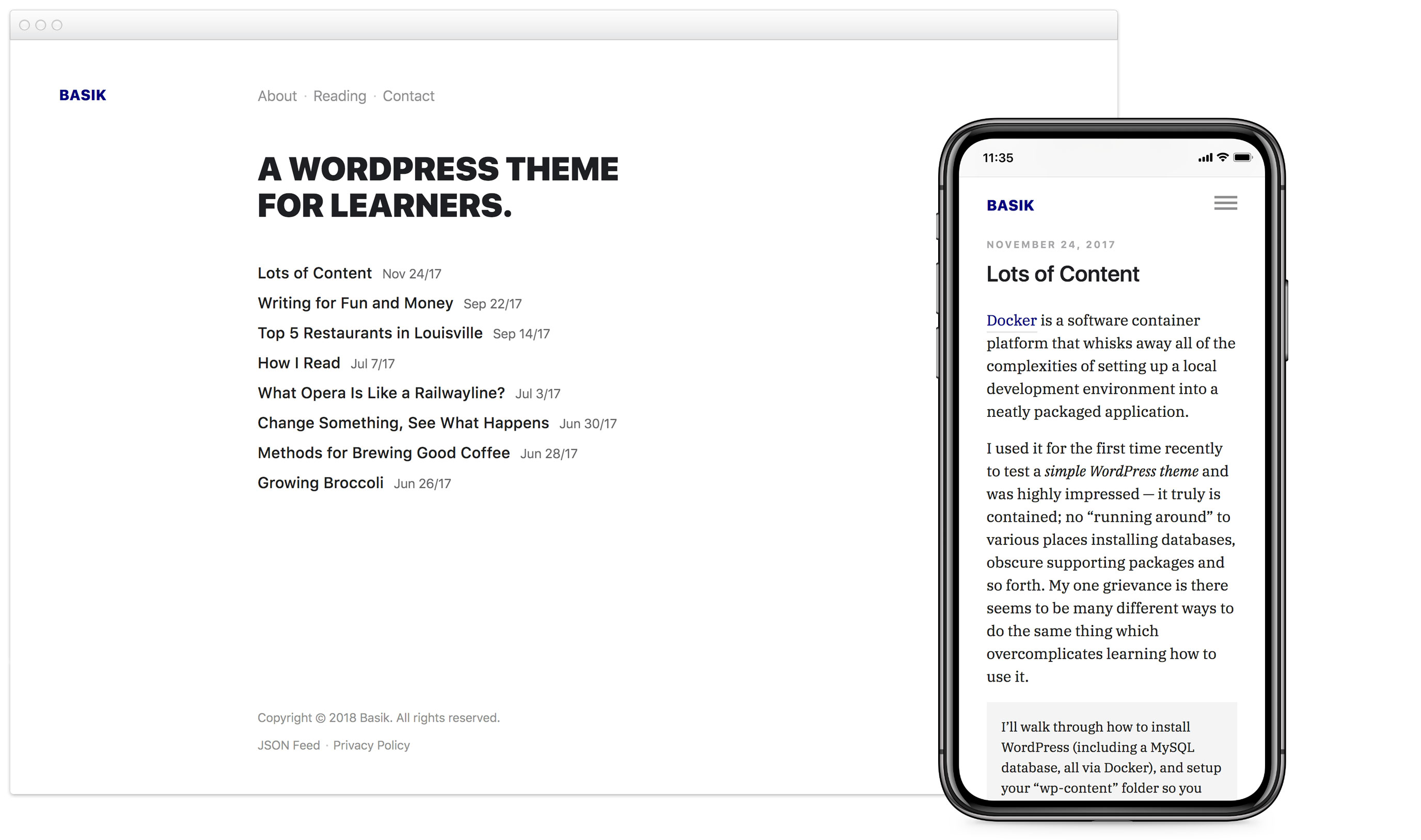 Screenshot of the Basik WordPress theme on desktop and mobile