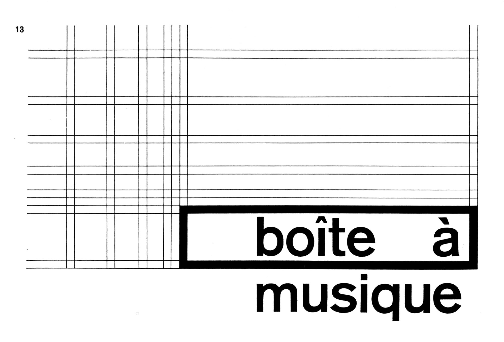 Boîte à musique typeset in a medium sans serif surrounded by a rectangle with criss-crossed grid guides showing the various layout options