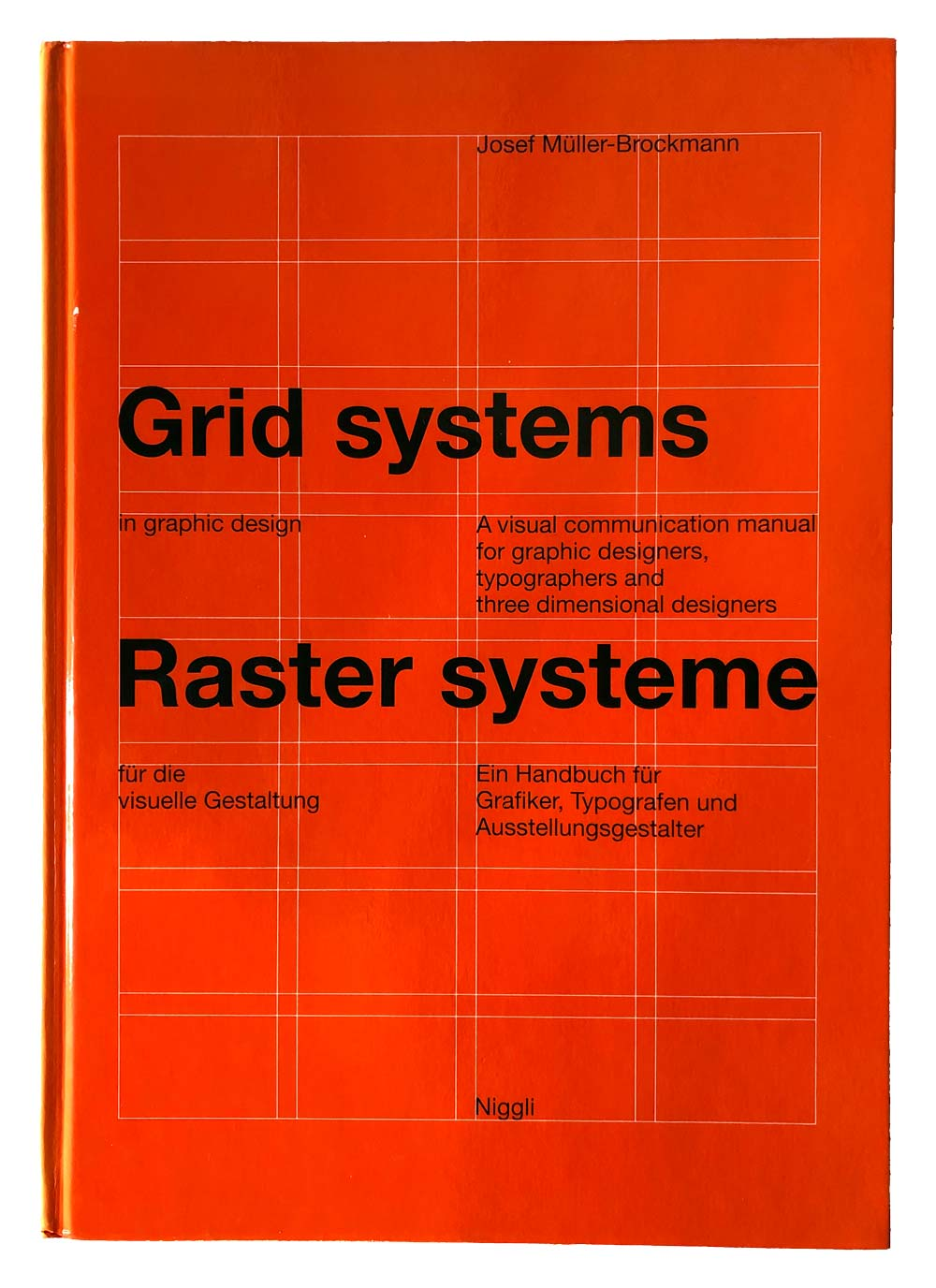 Orange book cover of Grid systems in graphic design.