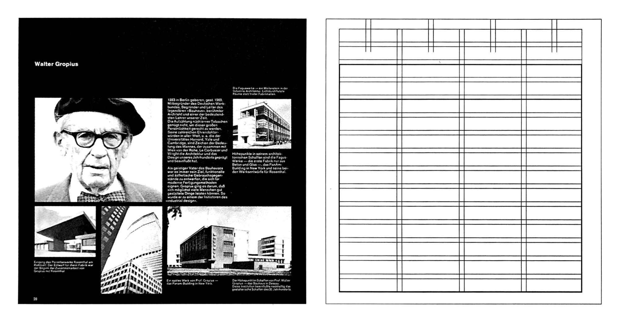 Sample page from the catalog showing the use of the 4 column, 15 row grid to layout an arrangement of images and text.