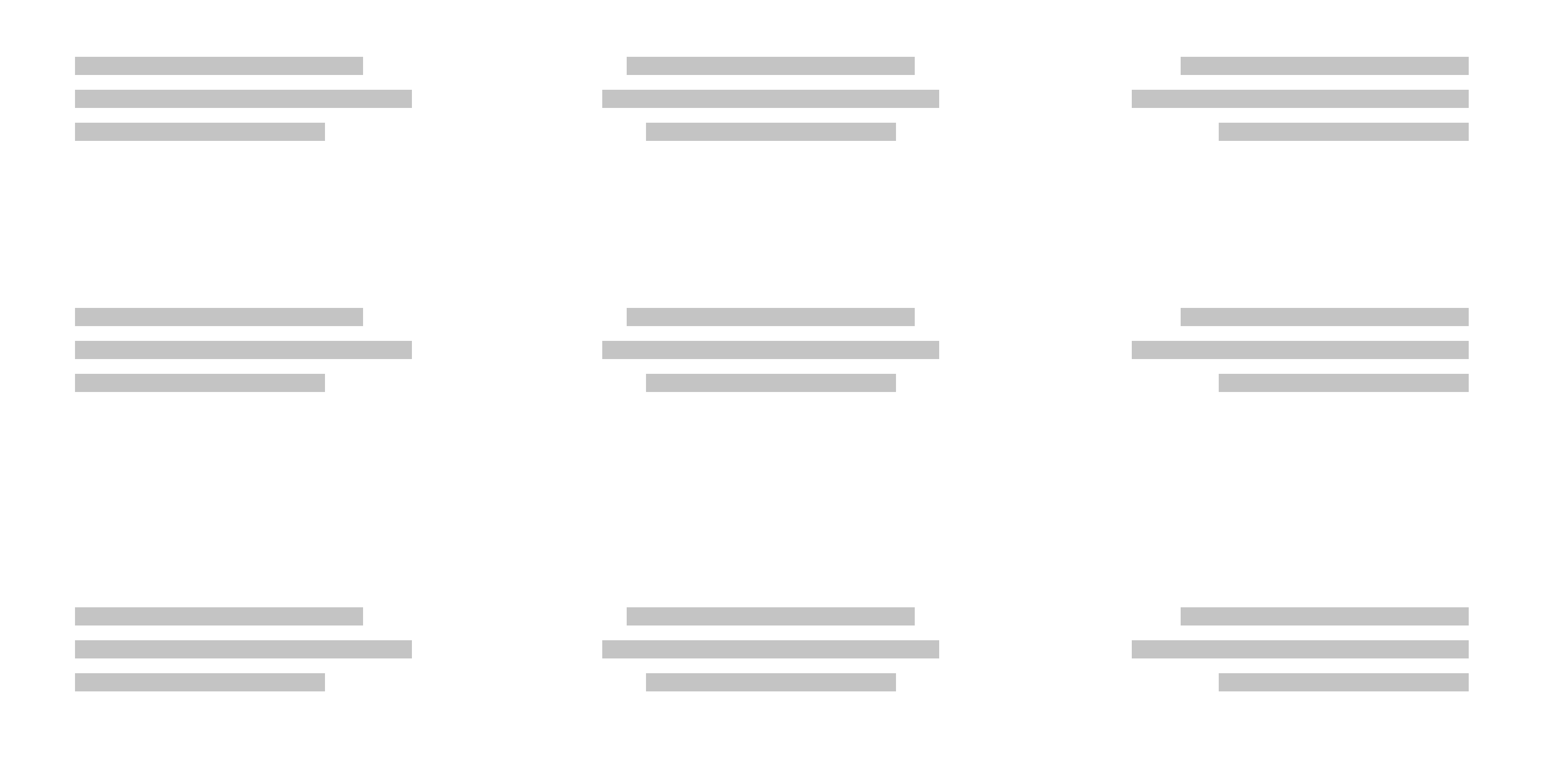 Blank view showing abstract text placed in the nine potential spots where it would be allowed: top left, top middle, top right, middle left all the way to bottom right.