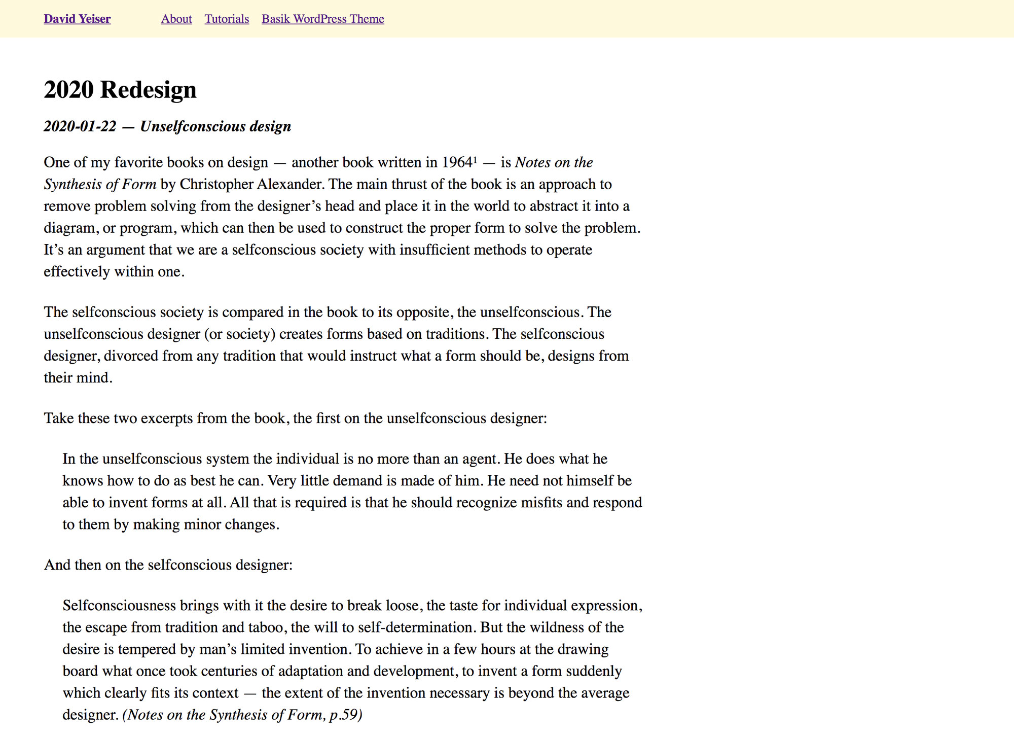 Screenshot of an example post, or note, with simple text and headline.